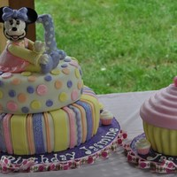 Minnie Mouse 1St Birthday Cake This was a colorful and sweet cake for a little girl who just turned one! Vanilla bean butter cake with butter cream frosting on bottom,...
