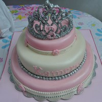 Pink Princess Tiara Cake Fit for a princess, this was a 3rd birthday cake, bottom layer was vanilla bean butter cake with vanilla bean frosting, middle layer was...