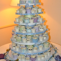 "Vegan Wedding Cupcake Tower Vegan Wedding Cupcake tower with 8"" top cake for the couples cake cutting pictures. (This couple loves cat's if you couldn't..."