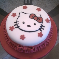 Hello Kitty Birthday White cake with fondant ruffles and fondant Hello Kitty.