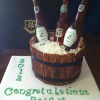 Beer Bottle - Graduation Cake Thanks to Zettebel for sharing her instructions on how to make the cake. Vanilla Cake with Fresh Strawberry cream filling, Fondant faux...