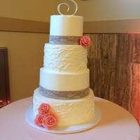 Rustic Country Wedding Cake Buttercream, gumpaste roses