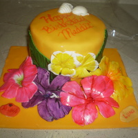 Luau Birthday Cake With 75 Cupcakes chocolate cake with fondant and white chocolate decorationscupcakes shells chocolate and flower fondant