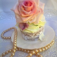 Rose, Lace And Pearls   Vanilla cupcake with fondant rose and hydrangea flowers
