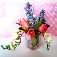 A Spring Bouquet Gumpaste tulips, freesias and lilacs