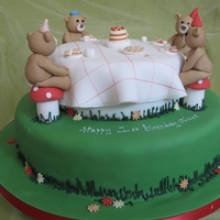 "Teddy Bears Picnic 12"" and 7"" madeira cakes with fondant bears tablecloth etc"
