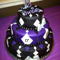 Lady Gaga / Music Themed Sweet 16  Sweet 16 cake made for a coworker - inside is all tinted purple as well, purple velvet cake with purple buttercream. Outside is all fondant...