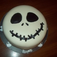 Jack Skellington - Nightmare Cake Made this for my son's class for Halloween - cake is pumpkin spice WASC (recipe on this site), filled and crumb coated with cream...