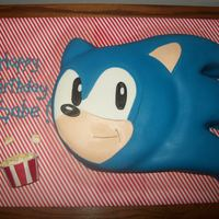 Sonic The Hedgehog Eating Popcorn  My son had a movie party for his birthday but wanted a Sonic cake - so I made him his own tub of marshmallow popcorn to tie Sonic into the...