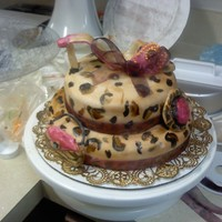 A Little Sassy   I did this cake for a 12 year olds birthday. purse shoe and hat are all fondant. I hand painted the cheetah print