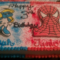 Spider Man And Smurfett   This was for a joint birthday party