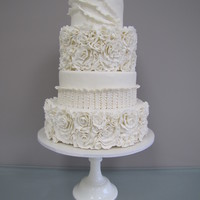 White Floral Ruffle Wedding Cake