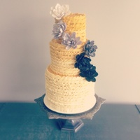 Ombre Buttercream Ruffle Cake With Ombre Sugar Lotus Flowers