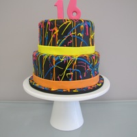 80S Neon Splatter Birthday Cake