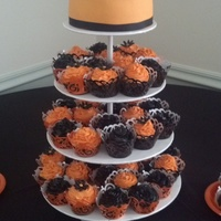 Halloween Themed Wedding Cake And Cupcakes Exactly what the bride ordered.... Halloween themed wedding cake and cupcakes. 7 inch chocolate tier, with orange MMF with 60 chocolate...