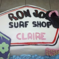 Ron Jon Surf Shop Cake This was for a lady's birthday that loved the Ron Jon Surf Shop. It was two layers. One layer was dark chocolate and the other was...
