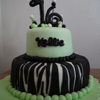 Sweet 16 Birthday I LOVED making this cake! My first attempt at zebra stripes (among a few other techniques). I didn't allow enough time for the topper...