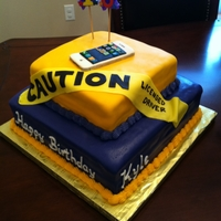 Iphone And Lsu 16Th Birthday Cake fondant iPhone and caution tape