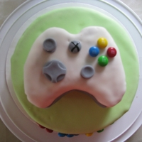 Xbox Controller Cake Strawberry cake. As you can see, I was runing out of fondant!