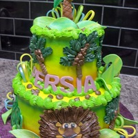 Zoo/safari Theme Cake   All BC with fondant accents.Animals are fondant plaques...along with loops,name etc...