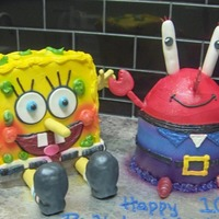 Sponge Bob And Mr Krabs This cake was inspired by Babygirl32316- who first posted this cake design.My son saw it and loved it!!We had his 10th birthday yesterday!!...