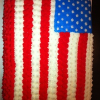 American Flag Cake Half sheet cake iced in all BC