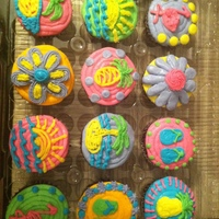 Luau Cupcakes I made 48 chocolate cupcakes all iced in BC. The designs were inspired and borrowed from other CC cupcake photos.