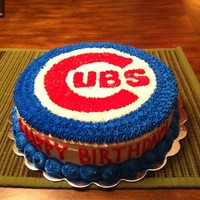 Chicago Cubs Cake Two layer, ten inch round strawberry cake iced in all BC.