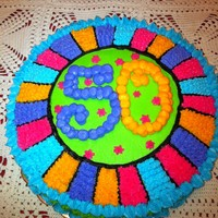 50Th Birthday Cake This idea was borrowed from another CC post. It is a two layer ten inch round cake iced in all BC.