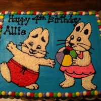 Max And Ruby Cake Half sheet caked iced in all BC