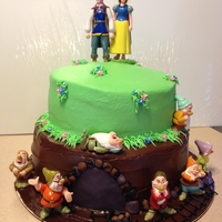 Snow White & 7 Dwarfs yes the top cake was suppose to look like a hill so lop sided was intended. lolol I wanted to do a cottage on top but she didn;t want one...