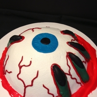 Gooy Eye Ball this was so simple... soccer ball cake pan and chocolate molds of the fingers.