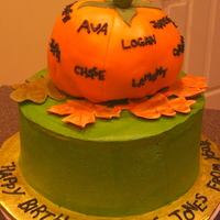Lil Pumpkins This cake was done for a kindergarten teacher, the pumpkin has all of her students name on it and the pumpkin made out of rkt