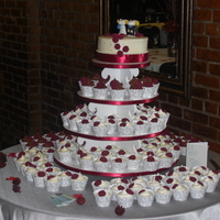 Burgundy And Silver Wedding 150+ cupcakes and a cutting cake..whew