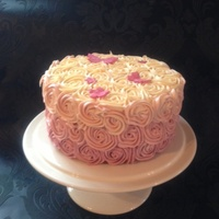 Pink Rose Ombre Cake   I've always wanted to make one of these. I was amazed at how easy it was :)