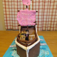 Pirate Ship   Cake and all decorations including girl and treasure chest made of modeling chocolate