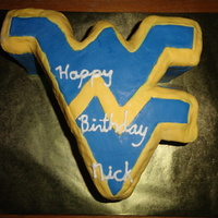 Wv Cake   Milk chocolate cake with peanut butter filling and covered with fondant