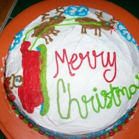 My Idea Of A Christmas Cake This was all done free hand with frosting.Please comment