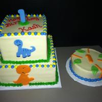 Baby Dinosaur Theme 2 tier baby dino--to match party supplies.fondant dinosaurs and gum paste #1 topper