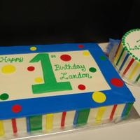 1St Birthday Sheet Cake With Smash Cake 1st attempt at decorating a whole cake with marshmallow fondant!