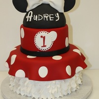 Minnie's Party Dress Audrey's birthday cake all edible Minnie's head made it of rice krispies.