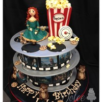 "Brave/movie Themed ""Brave"" movie cake All eatable! made with fondant and some gumpaste."