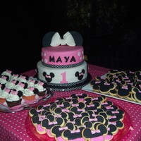 Minnie Mouse Cake, Cupcakes And Cookies
