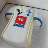 Tottenham Hotspurs I was asked to make this cake for a friend's Auntie, who is a fan of Spurs, instead of the sponsored logo, I made a logo with her age...