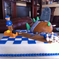 Over The Hill, 50, Dodgers, Bowling This is my first fondant charachter cake. I made this out of fondant and and gum paste. Everything is hand made...no molds. My brother in...