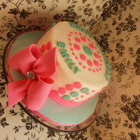 Pink And Aqua Dot Birthday Cake