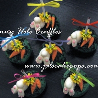 Bunny Hole Cruffles Marshmallow/chocolate fondant bunnies, under a flower, deep in a cake truffle hole, trying to hide their carrot treasure!