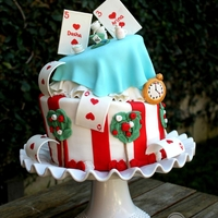 Topsy Turvey Alice In Wonderland Cake Two tiered topsy turvy cake I made for my nieces?s Alice in Wonderland themed party. Everything is edible with the exception of the tree...