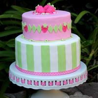 Strawberry Shortcake Inspired Cake *Strawberry Shortcake themed cake. Inspired by Strawberry Shortcake's outfit with her striped leggings and diamond/strawberry...