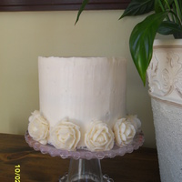 Butter Cake W/ Caramel Filling buttercream icing and roses